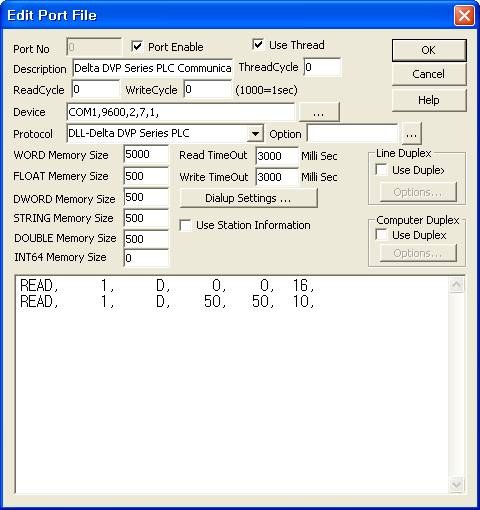 Delta PLC communication driver DVP Series